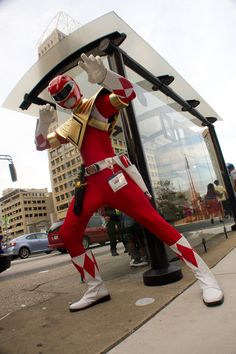Red Ranger with Gold Chest Plate Cosplay.. always thought Zack the black ranger shoulda had the chest plate