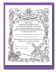 My Lenten Prayer FREE Coloring Page