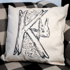 Millner Designs Whimsical K Pillow now featured on Fab.