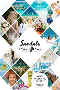 Celebrate your special day in paradise, a destination wedding in the Caribbean will set your hearts aflutter. Sandals Resorts, the resorts made for love. No need to plan the honeymoon, just stick around, the weather is nice and warm! Yearbook Layouts, Yearbook Covers, Brochure Design, Flyer Design, Layout Design, Cruise Scrapbook, Prospectus, Newspaper Design, Cute Wedding Dress