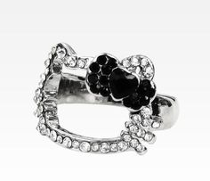 Hello Kitty Face Ring: Black Bow Rhinestone Size 7
