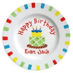 Happy Birthday Cake Personalized Plate for Boys :: For That Occasion