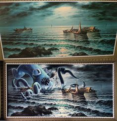 Thrift Store painting makeover with a sea monster. Thrift Store Art, Sea Monsters, Cartoon Monsters, Cartoon Art, Old Paintings, Altered Art, Thrifting, Fantasy Art, Cool Art