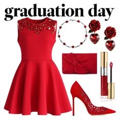 """Red"" by rainy-dayze ❤ liked on Polyvore featuring Chicwish, Jimmy Choo, Dolce&Gabbana, L.K.Bennett and Yves Saint Laurent"