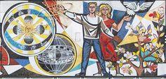 """Der Künstler und Autor Michael Wäser hat das bekannte Mosaik """"Unser Leben"""" von Walter Womacka am Haus des Lehrers in Berlin-Mitte neu interpretiert. Auf diesem Original-Ausschnitt der Westseite scheint ein Mann das Modell des Atoms und das heliozentrische Weltbild in der linken Bildhälfte zu segnen, die Frau hinter ihm entlässt eine Friedenstaube in eine blumige Welt. Das 1964 fertiggestellte Fries aus 800.000 Mosaiksteinen umläuft das Gebäude und reflektiert die Propagandasicht des Staates…"""