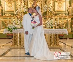 Bride And Groom's First Kiss at Alter - Just Married! Encarnacion Church, Orange Square, Marbella, Costa del Sol, Spain © Dougie Farrelly | Silverscreen.ie | Just Married, Getting Married, Video Photography, Wedding Photography, Orange Square, First Kiss, Bridesmaid Dresses, Wedding Dresses, Spain
