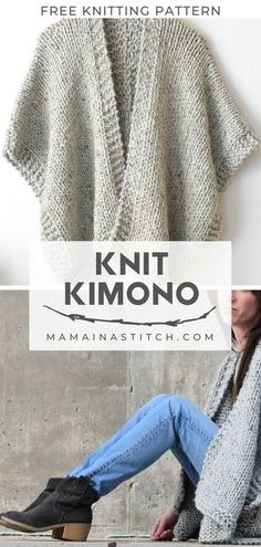Beginner Knit Kimono Cardigan Free Knitting Pattern - Stricken ist so einfach wi. - Beginner Knit Kimono Cardigan Free Knitting Pattern – Stricken ist so einfach wie 3 Das Str - Knitting Stitches, Knitting Needles, Start Knitting, Sock Knitting, Knitting Machine, Vintage Knitting, Knitting Scarves, Motif Kimono, Easy Knitting Projects