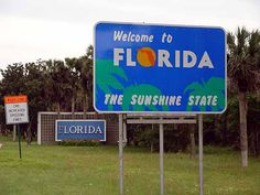 Florida State Line ~ I love to stop at the welcome center and drink orange juice!