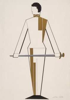 Othello: costume designs for swordsmen - Gouache drawings from 1927 by Alexandra Exter