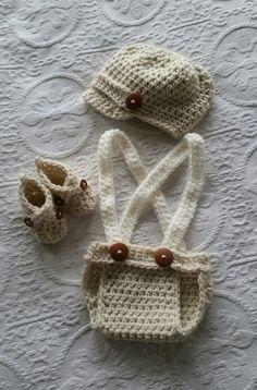 Handsome crochet little gentleman set!!
