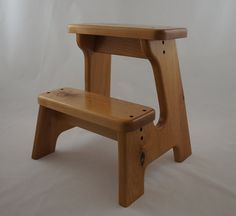 Wooden Step Stool, Alder, Natural Stained, Children's Tip-Resistant Handmade Stepstools by LaffyDaffy on Etsy