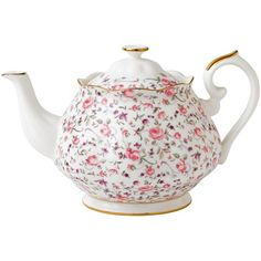 Royal Albert Rose Confetti Formal Vintage Teapot ($70) ❤ liked on Polyvore