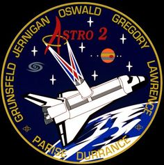 "Principally designed by the three ""rookie"" members of the crew, the STS-67 patch highlights ASTRO-2's contributions to ultraviolet astronomy. Image Credit: NASA"