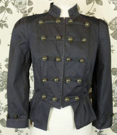 MILITARY STYLE PLEATED JACKET 10 38 victorian steampunk NAUTICAL circus vintage