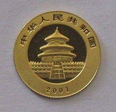 2001 China Panda Gold 1/20th Oz Gold Coin