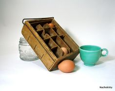 1900s Egg Crate Wooden Carton Box Sectioned Kitchen