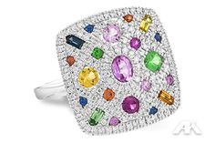 White gold ring with diamonds and bright natural colored sapphires!