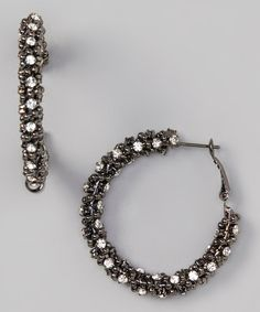 Take a look at this Hematite & Clear Bling Hoop Earrings by Gabrielle Jewelry on #zulily today!