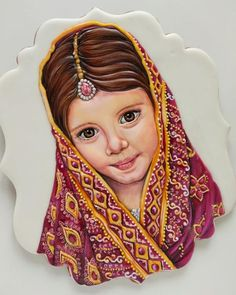 girl portrait - cookie by Eleonora Pchemyan (Art Biscotti) Cupcake Cookies, Sugar Cookies, Cupcakes, Amazing Cakes, Cookie Decorating, Princess Zelda, The Incredibles, Photo And Video, Portrait
