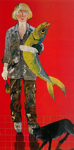 <b>Joan</b> <b>Brown</b>, Self-Portrait with Fish and Cat (1970).
