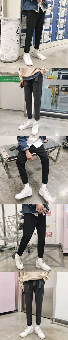 2017 Autumn Winter Warm  New Letter Belt Solid Color Self-cultivation Small Western-style Trousers Men Slim Casual Pants Hombre