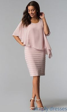 Shop blush pink mother-of-the-bride short sheath dresses at Simply Dresses. Knee-length bandage-style sheath dresses in blush pink jersey with scoop necklines and chiffon capes. Mother Of The Bride Fashion, Mother Of Bride Outfits, Mother Of Groom Dresses, Mob Dresses, Short Dresses, Fashion Dresses, Pink Dresses, Wisteria Bridesmaid Dresses, Cape Dress