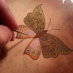 Seda Şahin Illumination Art, Engraving Art, Persian Motifs, Arabic Design, Iranian Art, Turkish Art, Butterfly Art, Butterflies, Calligraphy Art