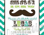 Chevron Style Little Man Mustache Baby Shower Invitation