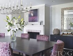 A Photographer's Historic Connecticut Farmhouse Gets a Modern Makeover - Connecticut Cottages & Gardens - March 2017 - Connecticut Pink Dining Rooms, Purple Rooms, Dining Room Sets, Farmhouse Dining Room Lighting, Dining Lighting, Living Room Grey, Living Room Decor, Living Spaces, Houston Houses