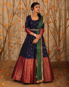 Stunning blue color floor length anarkali dres with big pattu boarder. Ananrkali dress with sleeves and waist belt. Lehenga Designs, Salwar Designs, Half Saree Designs, Kurti Designs Party Wear, Saree Blouse Designs, Dress Designs, Half Saree Lehenga, Saree Gown, Anarkali Dress