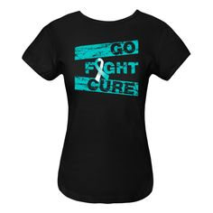 Wear it out loud for cancer awareness with the motto Go Fight Cure on Cervical Cancer shirts, apparel, tees and unique awareness gifts featuring a cool distressed design with  an awareness ribbon  #cervicalcancerawareness #cervicalcancerawarenessmonth #cervicalcancermonth
