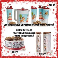I can't stop looking at the Christmas Online Exclusives! All this for $51.97. HUGE SAVINGS of $85.03. Go to my website!   http://cianslove.my.tupperware.ca