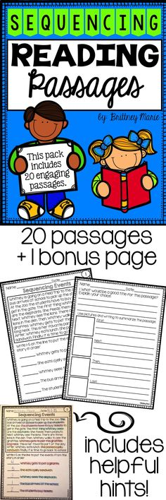 A fun and engaging way to practice sequencing events in a reading passage! Includes 20 passages!