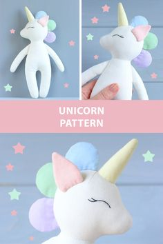 Unicorn doll sewing pattern #etsy #pattern #sewingpattern #pdfpattern #sew #sewing #sewingproject #diy #unicorn #unicornpattern #unicorntoy