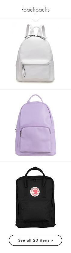 """""""•backpacks"""" by sewing-girl ❤ liked on Polyvore featuring bags, backpacks, fake leather backpack, white bag, white faux leather backpack, white backpack, vegan leather backpack, fillers, accessories and purple"""