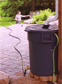 Rain barrel DIY-directions included - I like the additional hose to redirect water over flow away from the foundation of the house