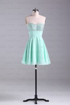 A-line Sweetheart Above the knee Sleeveless Mint Chiffon Short Prom Dress Bridesmaid Dress Evening Dress Party Dress 2013 With Beading on Etsy, $84.00