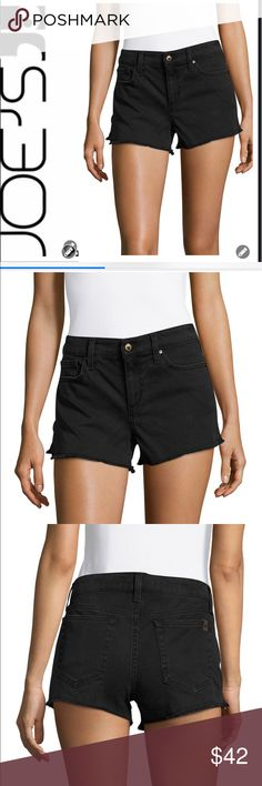 """NWT Joe Jeans Black Cut Off Shorts NWT Joe Jeans Black Cut Off Shorts are high waisted with a frayed hem. Front fly zip with one button closure. Classic five pocket design. Dark Hardware, belt loops. 98% Cotton, 2% Elastane. Color is Thadine. Rise 10"""" Inseam 2.5"""". These are great shorts & versatile! Smoke Free Home. Joe's Jeans Shorts Jean Shorts"""