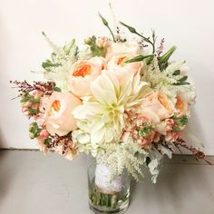 Bridal bouquet by The Exotic Green Garden in Westlake Village, CA. Blush bridal bouquet with garden roses, dahlias, hydrangea and more! #exoticgreengarden