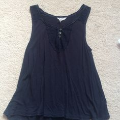 Lace detail tank Worn only a couple times:) great condition. Size medium but will fit size small too:) dark blue Aeropostale Tops Tank Tops