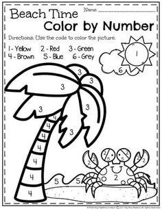 Preschool Color by Number Worksheet for Summer