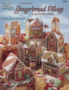 Gingerbread Village, Christmas Decoration Plastic Canvas Pattern Booklet American School of Needlework 3652 RARE