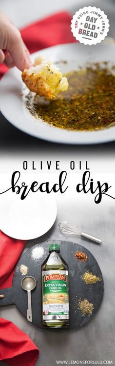 This olive oil bread dip is the perfect appetizer for any occasion. Try dipping in Jimmy John's Day Old Bread! Sold in shops for around 50 cents, first come first serve via @Lemonsforlulu