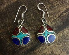 Tibetan earrings - Tibetan jewellery- Artisan made - Turquoise, coral, lapis stone earrings - Tibetan silver