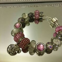 European style bracelet and necklace set. Pink and silver family tree of life matching charms. Can be sold separately Jewelry Necklaces
