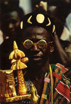 Africa | Paramount Chief,  Ivory Coast, ca. 1950 - 1970 || Vintage postcard; photographer J.C. Nourault.