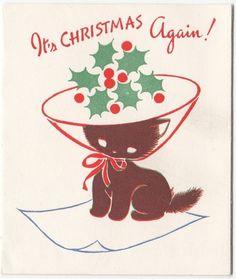 Vintage Greeting Card Christmas Kitten