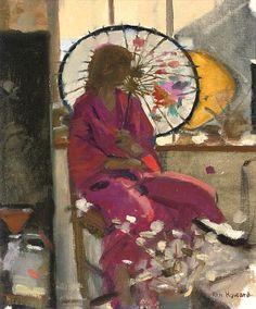 stilllifequickheart:    Ken Howard  Woman with Parasol  20th century
