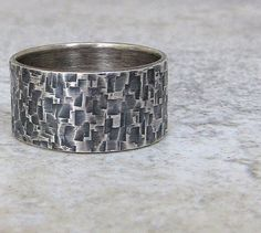 Mens Wedding Ring Silver Hammered Wedding Band by SilverSmack, $81.00