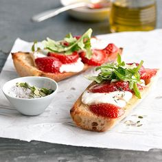 "Strawberry-Goat Cheese Bruschetta: ""Freshen up your appetizer recipes with in-season fruit. Here, creamy goat cheese, zippy arugula, and luscious strawberries combine for an off-the-beaten-path take on bruschetta."""